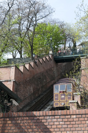 fisherman bastion: Funicular up to the Royal Palace In Budapest Hungary Editorial