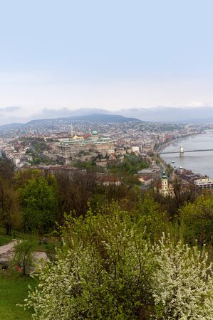 View from the Citadel Hill above the city of Budapest Hungary