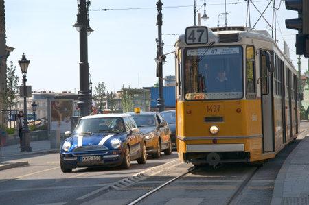 brenda kean: Tram along the banks of the River Danube in Budapest Hungary