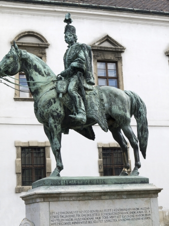 castle district: Statue in the Castle District of Budapest Hungary