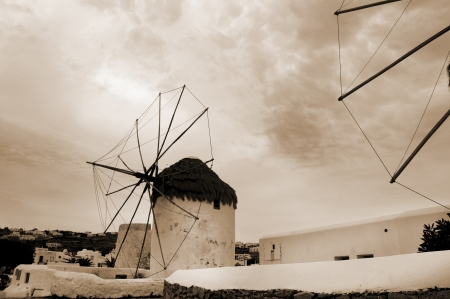 The Windmills on the beautiful Island of Mykonos in the Cyclades Islands Greece