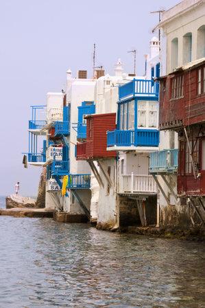 chora: Little Venice en Chora la ciudad principal en la isla de Mykonos Grecia
