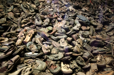 oswiecim: Shoes of the victims of the Final Solution in Auschwitz Poland Editorial