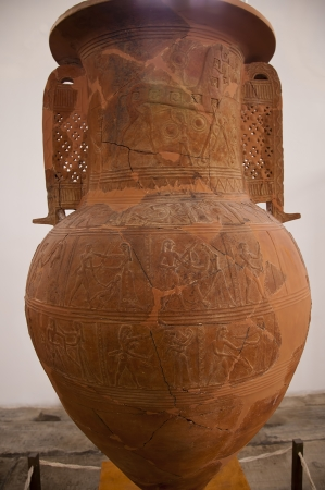 Ancient Greek Vase Depicting The Trojan Horse In The Museum In