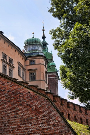 The towers of Wawel Castle in Krakow Poland