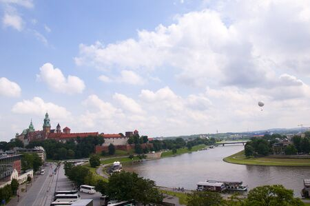 View over Vistula River in Krakow from the top of the Hotel Kossak in Poland