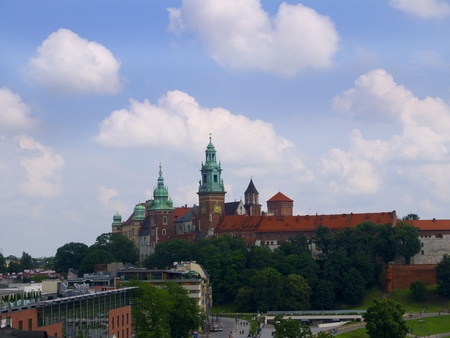 cloth halls: The towers of Wawel Castle in Krakow Poland