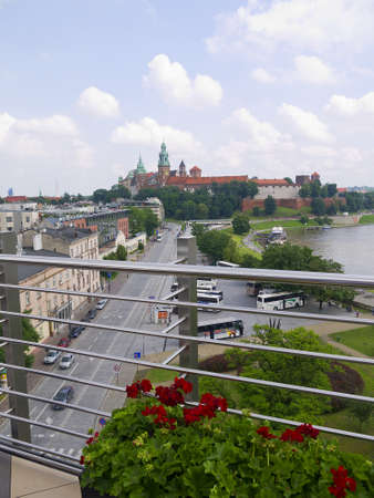 portcullis: View over Vistula River in Krakow from the top of the Hotel Kossak in Poland
