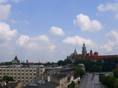 portcullis: View over Krakow from the top of the Hotel Kossak in Poland