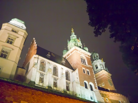 portcullis: The towers of Wawel Castle at night in Krakow Poland