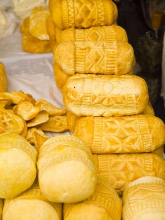 brenda kean: Patterned bread on the Food Market in Krakow Poland Stock Photo