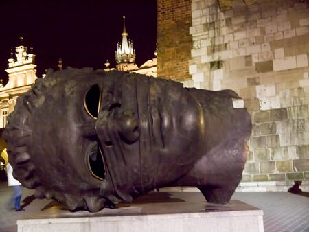 Big Giant Head in the Main Market Square in Krakow Poland