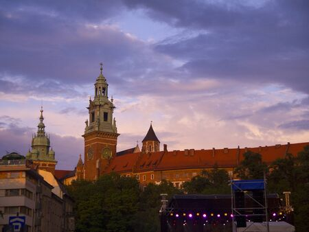 Night Falls over Krakow in Poland