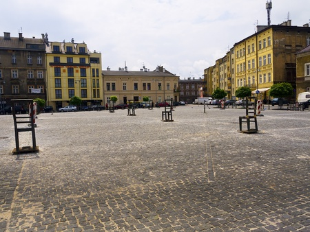 harrowing: The Square of Empty Chairs in Krakow is a Memorial to the People who died in the Polish Extermination Camps Editorial