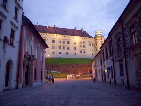 Wawel Castle at night in Krakow Poland