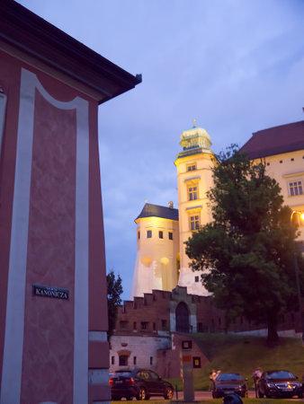 wawel: Wawel Castle at night in Krakow Poland