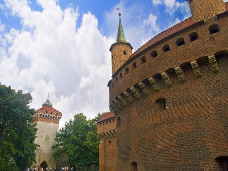 portcullis: Il Barbican o Bastione Fortificazione a Cracovia Polonia