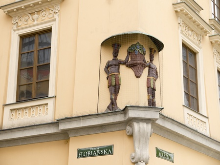 street corner: Street Corner in Krakow in Poland Editorial