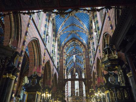ade: Church of Mariacki or St Marys Church in Krakow Poland Editorial