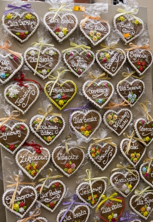 Gingerbread hearts for sale on Market in Krakow Poland