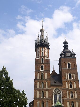 portcullis: The Mariacki Church of St Mary in Great Market Square Krakow Poland