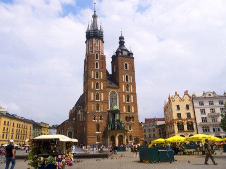 The Church of Mariacki or St Marys Church in Krakow Poland Editorial