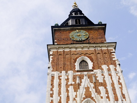 Town Hall Tower in the Main Market Square of Krakow Poland