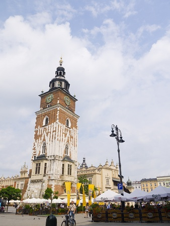portcullis: Town Hall Tower in the Main Market Square of Krakow Poland