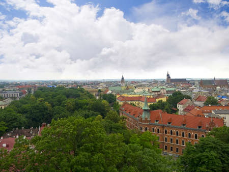 portcullis: View over Krakow from the top of the Wawel Castle in Poland