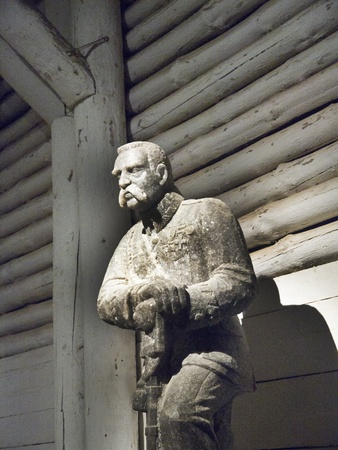 tableau: Rock salt carving in the Salt Mine in Wieliczka Poland Editorial