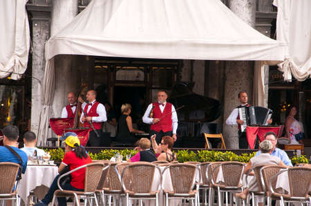 st marks square: Musicians in St Marks Square Venice Italy