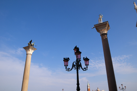 Columns with St Mark and the Venetian Lion in Venice Italy