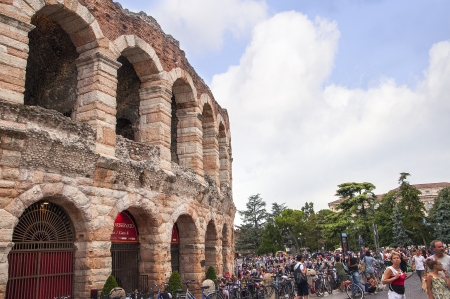 Verona is a city in Northern Italy which features in Shakespeare s tragedy Romeo and Juliet and also in his drama Two Gentlemen of Verona  Each summer they present operas in the Roman Amphitheatre or Arena in the centre of the city of Verona