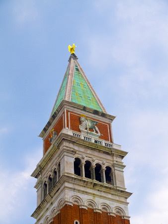 st  marks square: Campanile or bell Tower of St Marks Cathedral in Venice Italy