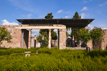 faun: Garden of the House of the Dancing Faun in Pompeii Italy