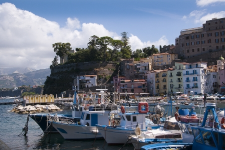 The old town of Sorrento going down into the original fishing harbour of Marina Grande in Sorrento a small city in Campania, Italy   It is a popular European tourist destination
