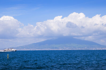 View of Vesuvius and the Capri ferry Sorrento Italy