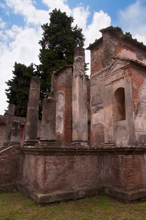 mud house: The Temple of Isis in the ancient city of Pompeii Italy Stock Photo