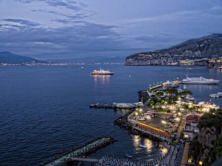 Bay of Naples from Sorrento Italy as night has fallen