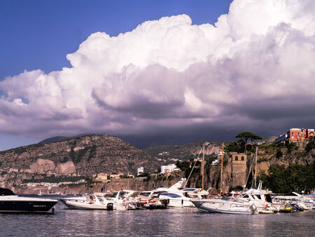 marquetry: Sorrento from the harbour at Marina Piccolo Italy