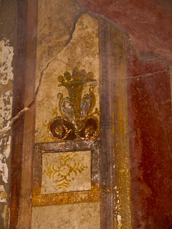 Fresco detail in the once buried city of pompeii