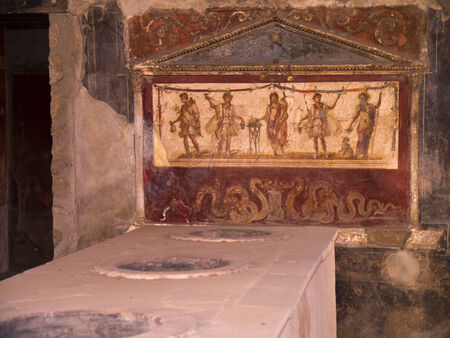 tremor: Fresco in shop in the once buried city of Pompeii Italy