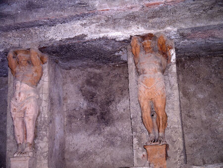 faun: Detail of the Mens Baths in the ruined city of Pompeii Italy Editorial