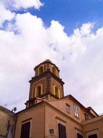 marquetry: Campanile or Bell Tower of the cathedral in Sorrento Italy Editorial