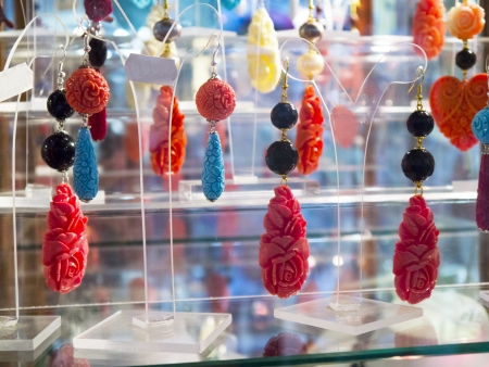 sirens: Carved Coral Earrings in Sorrento Italy