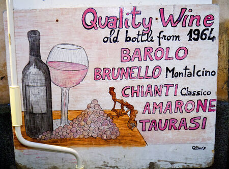 marquetry: Wine Shop Sign in the old town of Sorrento Italy Editorial