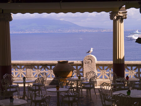 marquetry: Beautiful terrace overlooking the Bay of Naples Italy Editorial