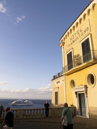 marquetry: Viewpoint of Bay of Naples in Sorrento Italy Editorial