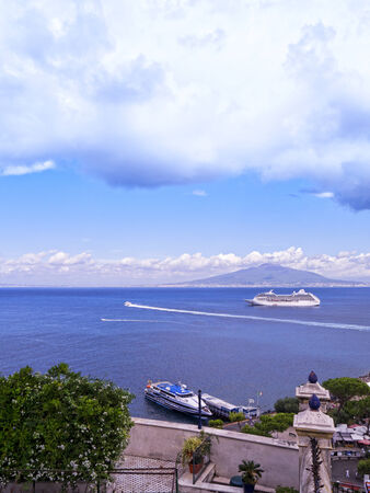 italian alpine troops: Mount Vesuvius with cruise ship in the Bay of Naples Italy Editorial