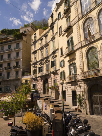italian alpine troops: Apartment Buildings in the crowded city of Naples Italy